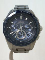 ソーラー腕時計/アナログ/BLU/SLV