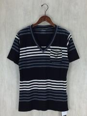 Tシャツ/M/コットン/BLK/ボーダー