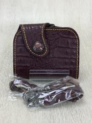 2つ折り財布/レザー/ブラウン/クロコ調/ウォレットチェーン付/GN10
