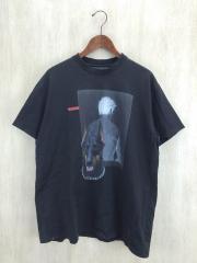 Tシャツ/XS/コットン/BLK/プリント/ヨレ、裾汚れ等有り